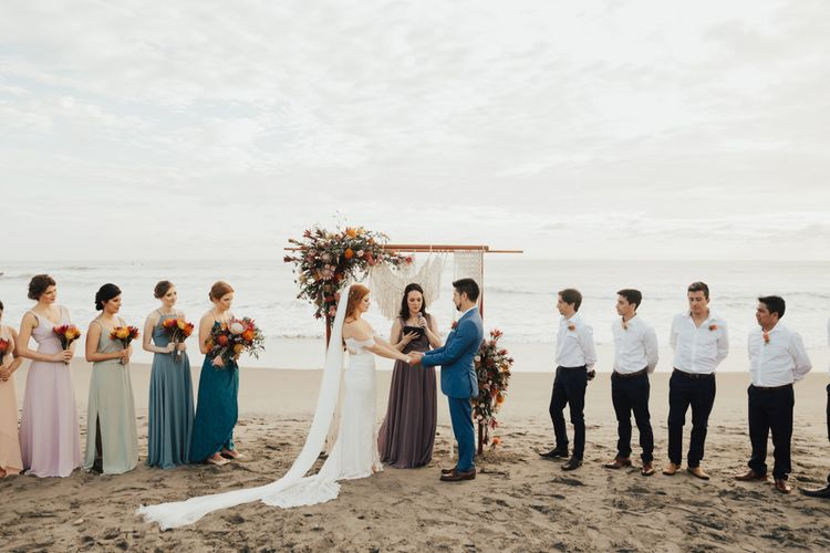 Bridal Party and Groomsmen During Ceremony