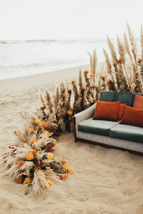 Pampas Grass With Orange Flowers Beach Seating Area