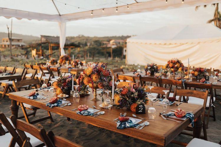 Wedding Table Set Up For Ecuador Wedding