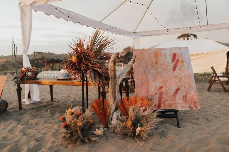 Artwork, Pampas Grass and Flowers for Entrance Decor