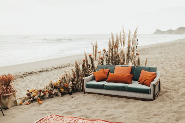 Pampas Grass And Floral Decor for Beach Seating Area