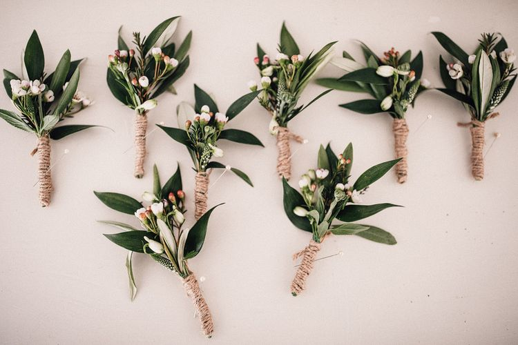 Foliage Buttonholes For Groom & Groomsmen // Image By Samuel Docker Photography