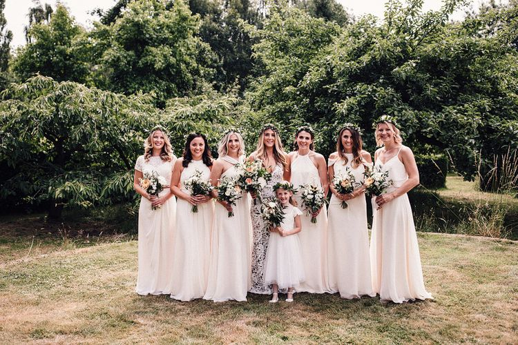 Ivory For Her And For Him Bridesmaids Dresses // Image By Samuel Docker Photography