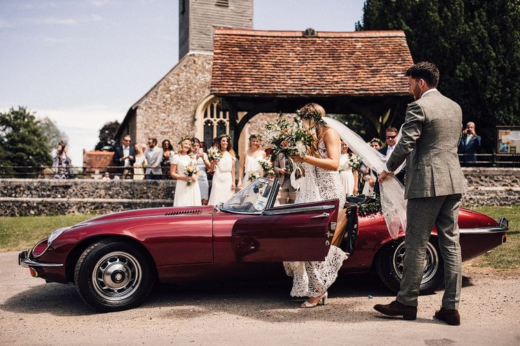 Vintage Jag Wedding Car // Image By Samuel Docker Photography