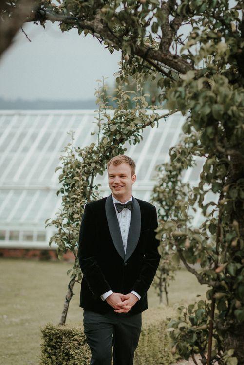 Groom in  Velvet Tuxedo For Black Tie Wedding