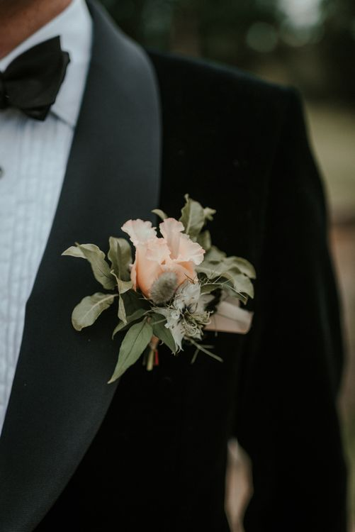 Pink Wedding Flower Buttonhole for Black Tie Wedding
