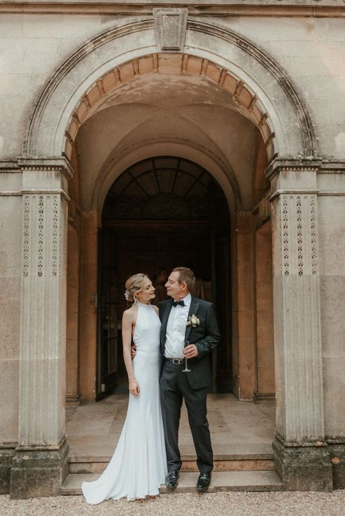 Bride And Father Have A Moment Before Ceremony At Coombe Lodge