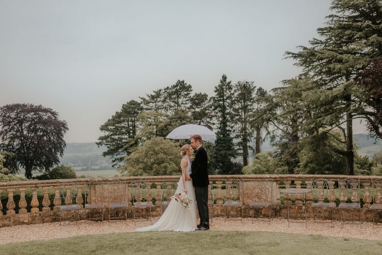 Bride And Groom In Coombe Lodge Grounds