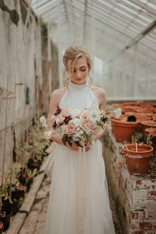Blush Pink Bouquet with Stella McCartney Wedding Dress