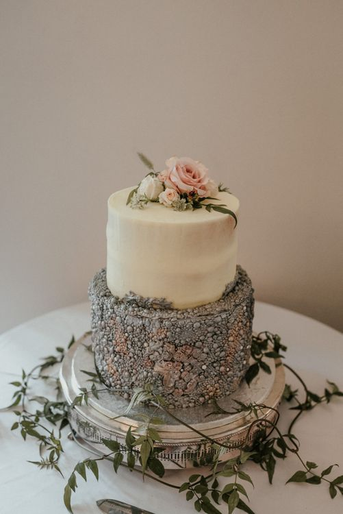 Amazing Wedding Cake With Beading Details and Floral Topper