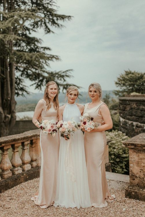Ghost Bridesmaid Dresses In Oyster With Bride In Halterneck Stella McCartney Wedding Dress