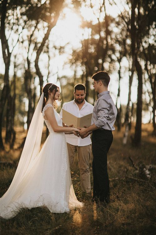 Forest Wedding Ceremony | Bride in Gown from Frances Day Bridal | Groom in Moss Bros. | Romantic, Bohemian Elopement in the Peaks by Natalie Hewitt Wedding Planner | Henry Lowther Photography