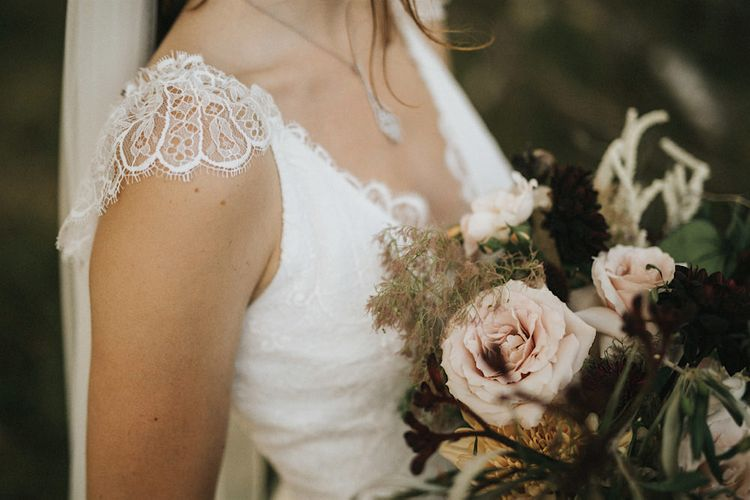 Delicate Lace Cap Sleeve Gown from Frances Day Bridal | Groom in Moss Bros. | Romantic, Bohemian Elopement in the Peaks by Natalie Hewitt Wedding Planner | Henry Lowther Photography