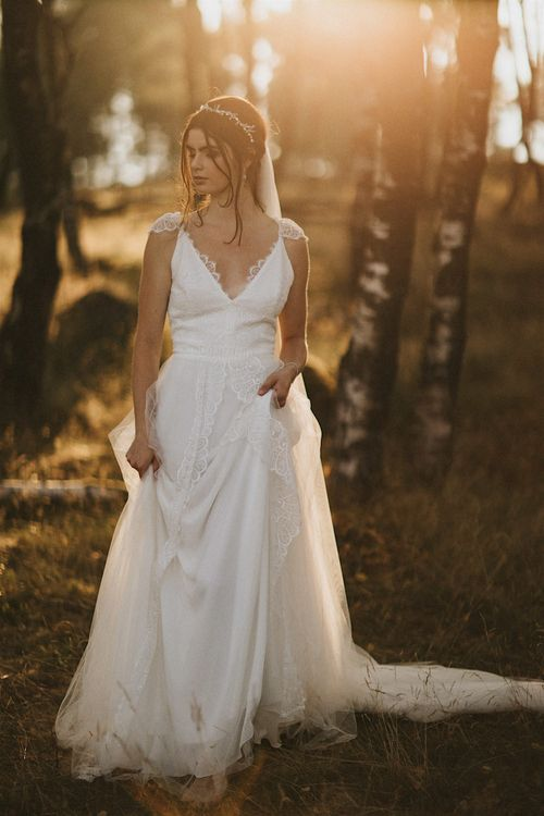 Bride in Gown from Frances Day Bridal | Romantic, Bohemian Elopement in the Peaks by Natalie Hewitt Wedding Planner | Henry Lowther Photography