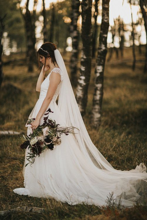 Burgundy Floral Bouquet & Ribbon by Quintessential Wild Florist | Bride in Gown from Frances Day Bridal | Romantic, Bohemian Elopement in the Peaks by Natalie Hewitt Wedding Planner | Henry Lowther Photography