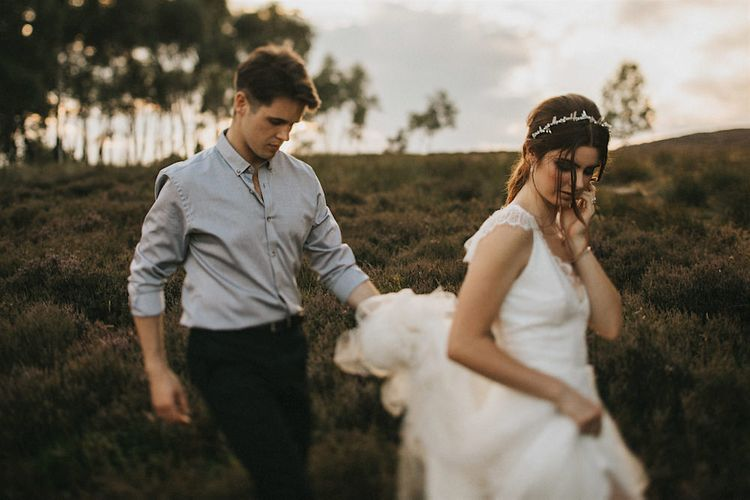 Bride in Gown from Frances Day Bridal | Groom in Moss Bros. | Romantic, Bohemian Elopement in the Peaks by Natalie Hewitt Wedding Planner | Henry Lowther Photography