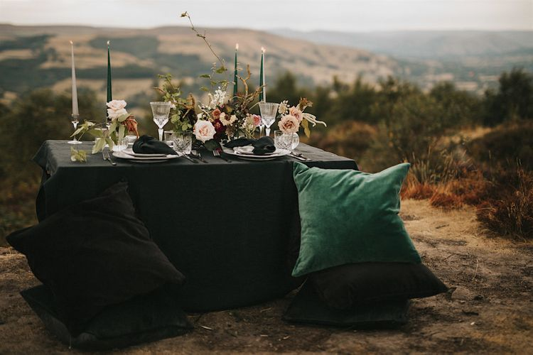 Elegant Tablescape with Tapper Candles, Cut Glass & Fresh Flower Decor  | Romantic, Bohemian Elopement in the Peaks by Natalie Hewitt Wedding Planner | Henry Lowther Photography