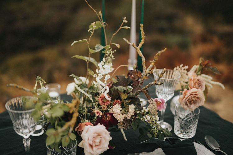Elegant Tablescape with Taper Candles & Fresh Flower Decor  | Romantic, Bohemian Elopement in the Peaks by Natalie Hewitt Wedding Planner | Henry Lowther Photography