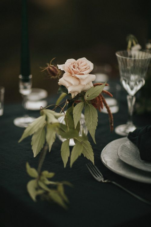 Elegant Tablescape with Fresh Flower Decor  | Romantic, Bohemian Elopement in the Peaks by Natalie Hewitt Wedding Planner | Henry Lowther Photography