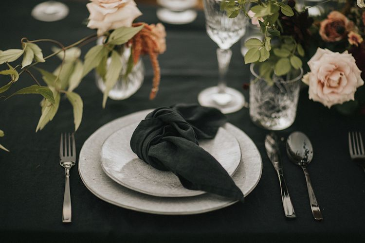 Elegant  Place Setting & Fresh Flowers  | Romantic, Bohemian Elopement in the Peaks by Natalie Hewitt Wedding Planner | Henry Lowther Photography