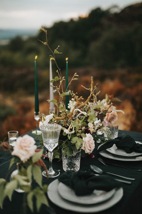 Elegant Tablescape with Tapper Candles, Black Tablecloth, Grey Tableware & Floral Arrangement  | Romantic, Bohemian Elopement in the Peaks by Natalie Hewitt Wedding Planner | Henry Lowther Photography