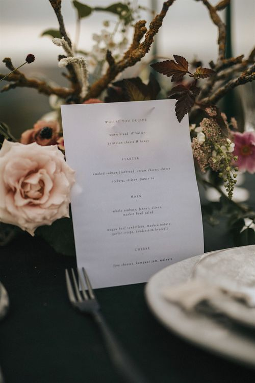 Elegant Tablescape Georgina Read Creative Wedding Stationery | Romantic, Bohemian Elopement in the Peaks by Natalie Hewitt Wedding Planner | Henry Lowther Photography