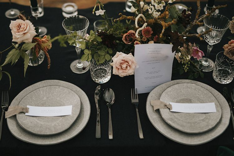 Elegant Tablescape with Black Tablecloth, Grey Tableware & Floral Arrangement  | Romantic, Bohemian Elopement in the Peaks by Natalie Hewitt Wedding Planner | Henry Lowther Photography