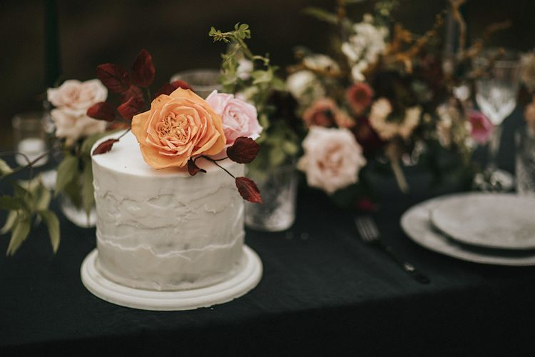 Single Tier Wedding Cake by Caroline M Cakes with Fresh Flower Topper | Romantic, Bohemian Elopement in the Peaks by Natalie Hewitt Wedding Planner | Henry Lowther Photography