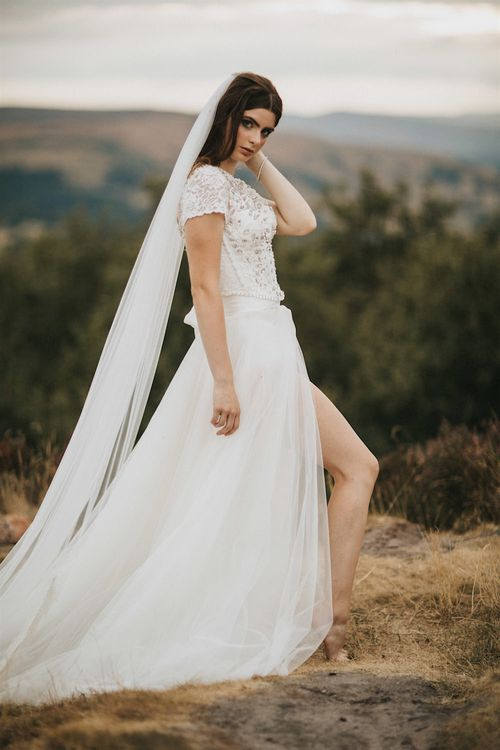 Bride in Gown from Frances Day Bridal with Front Split | Romantic, Bohemian Elopement in the Peaks by Natalie Hewitt Wedding Planner | Henry Lowther Photography
