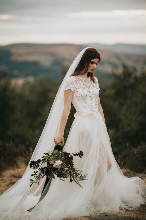 Burgundy Floral Bouquet & Ribbon by Quintessential Wild Florist | Bride in Gown from Frances Day Bridal with Front Split | Romantic, Bohemian Elopement in the Peaks by Natalie Hewitt Wedding Planner | Henry Lowther Photography