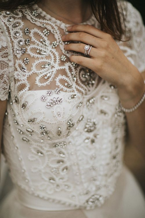 Temprell Diamond Ring | Bride in Gown from Frances Day Bridal with Sequin Bodice | Romantic, Bohemian Elopement in the Peaks by Natalie Hewitt Wedding Planner | Henry Lowther Photography