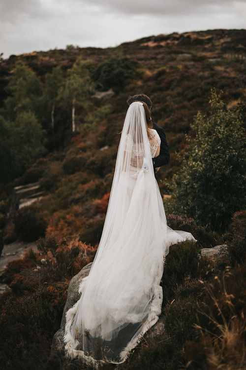 Wedding Veil | Bride in Gown from Frances Day Bridal with Sequin Bodice | Romantic, Bohemian Elopement in the Peaks by Natalie Hewitt Wedding Planner | Henry Lowther Photography