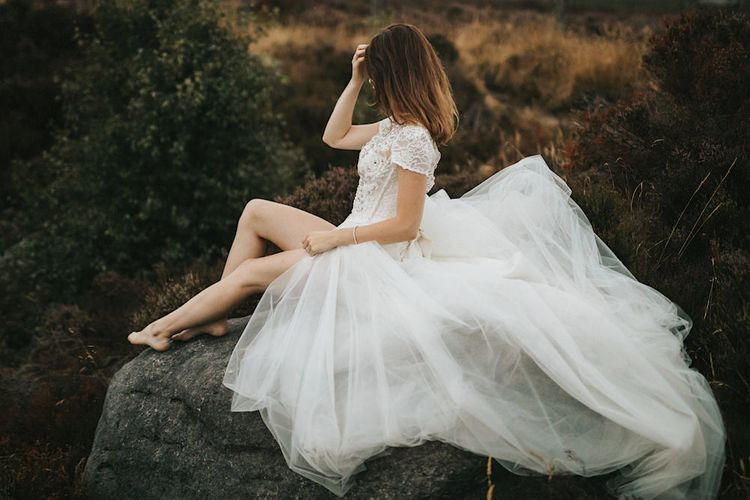 Bride in Gown from Frances Day Bridal with Tulle Skirt & Front Split | Romantic, Bohemian Elopement in the Peaks by Natalie Hewitt Wedding Planner | Henry Lowther Photography