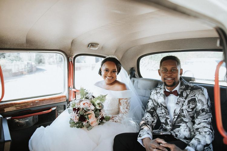 Bride and brother in a taxi on the way to the wedding ceremony