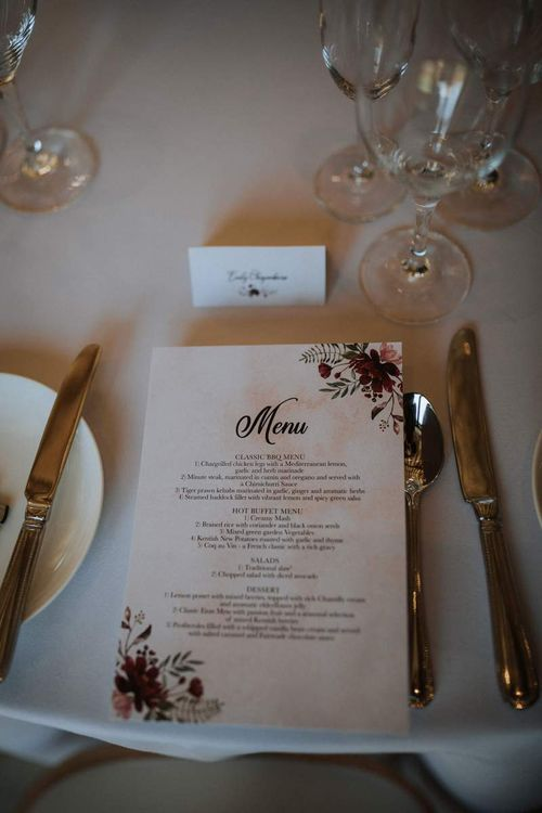Menu card with floral illustration