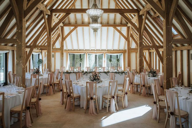 The Old Kent Barn wedding reception decor