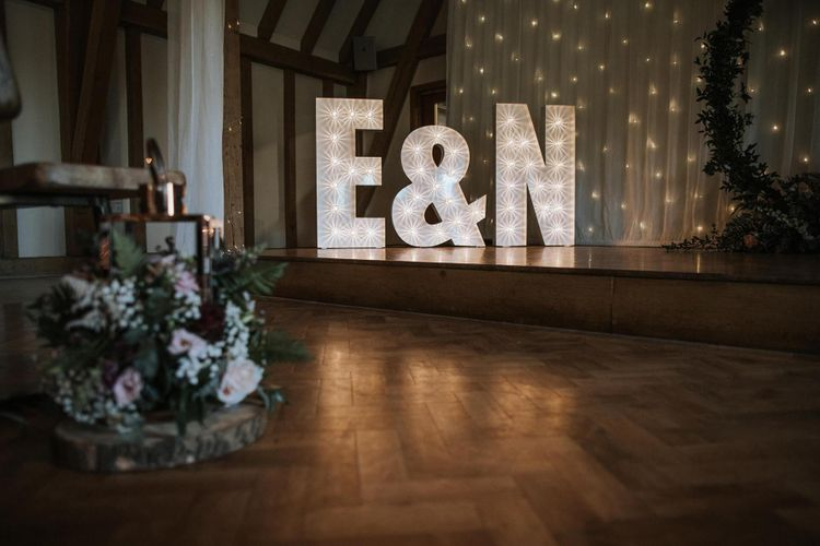 Giant E&N light up letters at The Old Kent Barn
