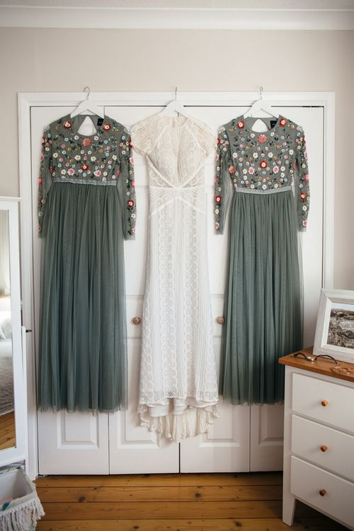 Lenora Dress by Wtoo Watters with Lace Cap Sleeves and Keyhole Back | Dusky Green Needle & Thread Dresses with Floral Embroidered Bodice and Long Sleeves | Macrame Decor, Vintage Caravan Photobooth and Five-Tier Naked Wedding Cake for Boho Wedding in Woodlands | Freckle Photography