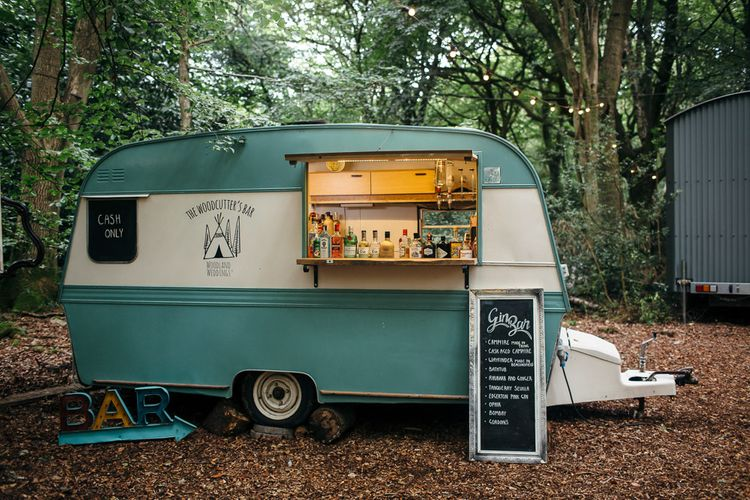 Vintage Caravan Gin Bar | Macrame Decor, Vintage Caravan Photobooth and Five-Tier Naked Wedding Cake for Boho Wedding in Woodlands | Freckle Photography