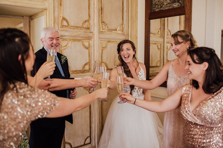Bridal Party Toast Before Ceremony