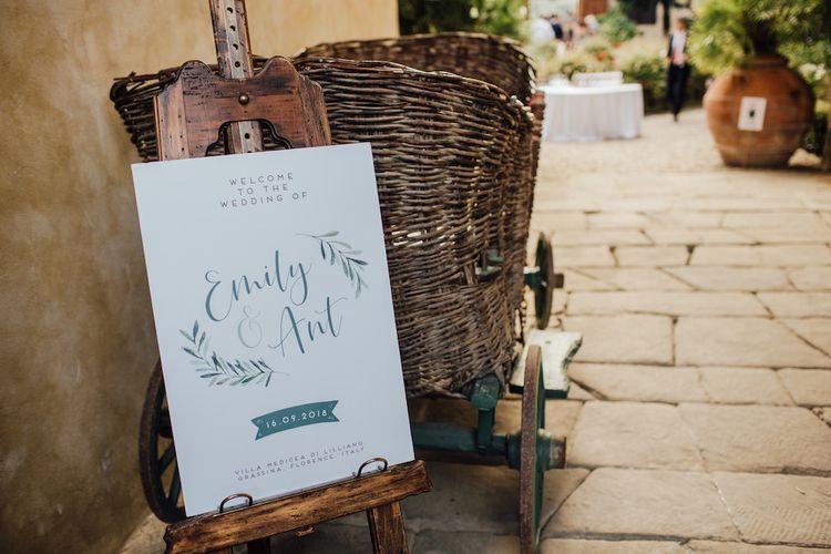 Welcome Wedding Sign on Easel