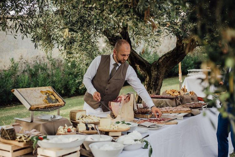 Food Set Out for Outdoor Ceremony