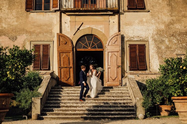Bride and Groom On Villa Steps