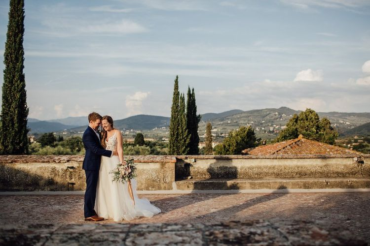 Bride and Groom At Villa in Florence for Outdoor Wedding