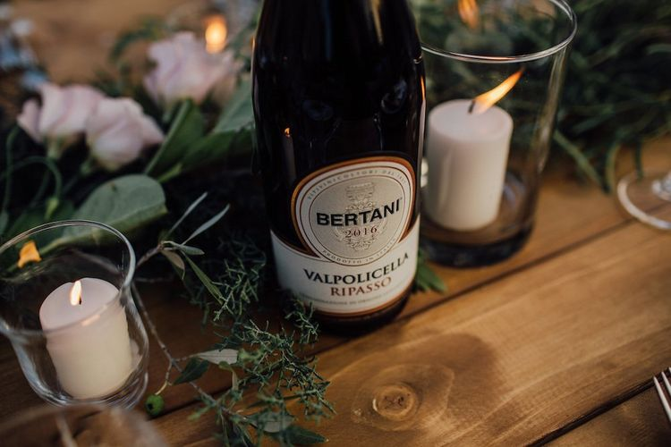 Candles and Wine for Rustic Wedding