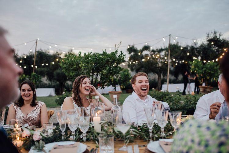 Bride and Groom Enjoy Speeches