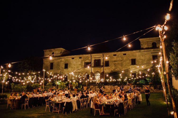 Florence Villa Lit Up With Pontoon Lighting for Wedding Evening