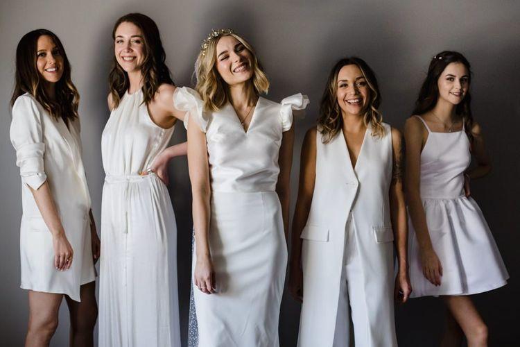 White bridesmaid dresses for stylish wedding day