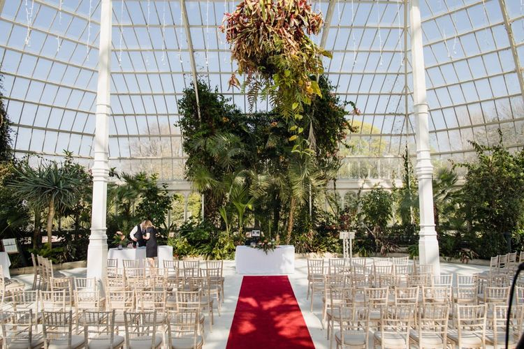 Wedding ceremony set up at The Palm House Sefton Park Liverpool