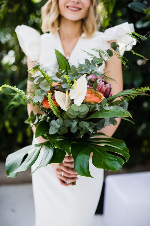 Wedding bouquet with anthurium flowers for bride with tropical vibes